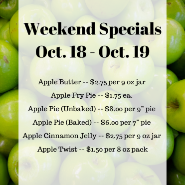 Weekend Specials Oct. 18 - Oct. 19