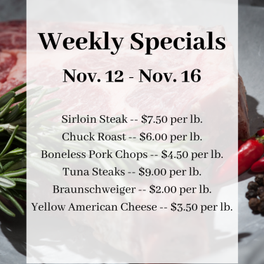 Sirloin Steak -- $7.50 per lb. Chuck Roast -- $6.00 per lb. Boneless Pork Chops -- $4.50 per lb. Tuna Steaks -- $9.00 per lb. Braunschweiger -- $2.00 per lb. Yellow American Cheese -- $3.50 per lb.