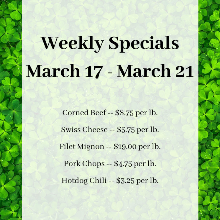 Weekly Specials March 17 - March 21 - IG